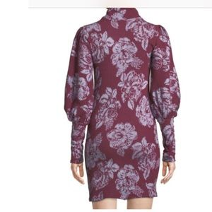Balloon-Sleeve Floral-Jacquard Sweater Dress, Red